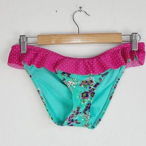 Sofia By Vix Bikini Swim Bottoms M Green Floral